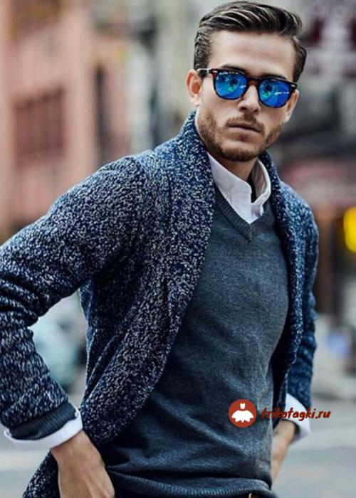 Пуловер мужской синий с рубашкой