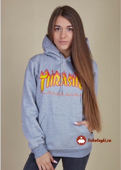 Толстовка женская серая с огненной надписью