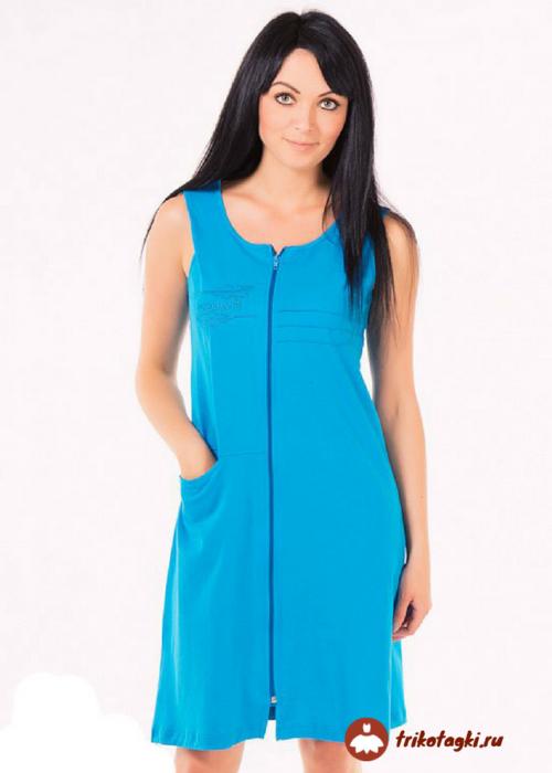 Халат женский легкий голубой