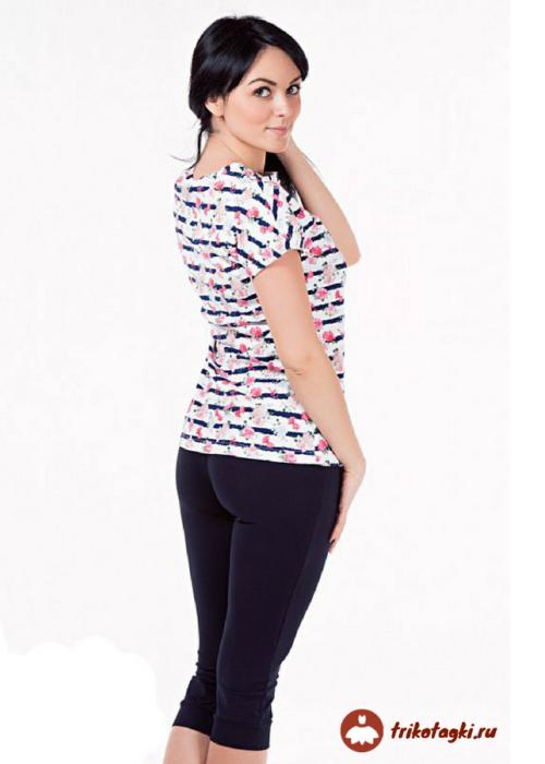 Женский домашний костюм с футболкой в полоску