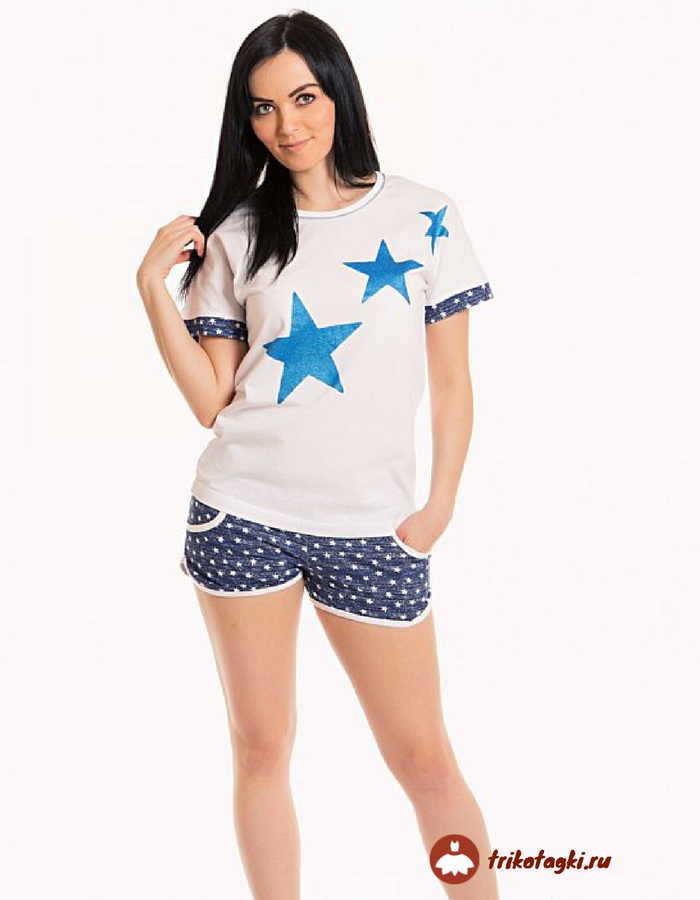 Пижама женская с футболкой со звездами
