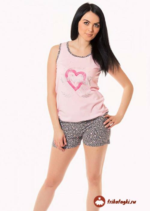 Пижама женская с принтом сердце