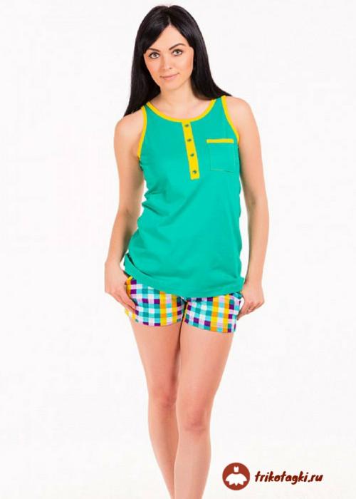 Пижама женская зеленая с шортами