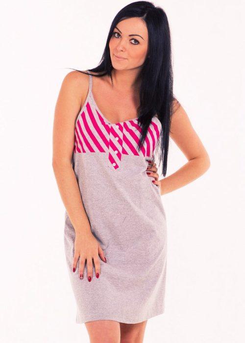 Сорочка серая с розовыми полосками