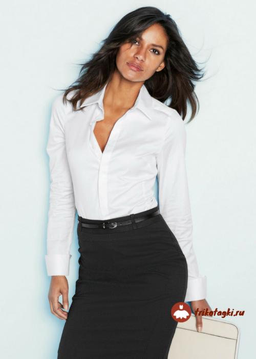 Блузка женская белая с длинным рукавом