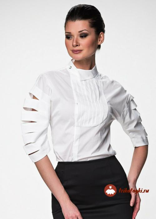 Блузка женская белая с рукавом три четверти