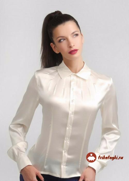 Блузка женская белая атласная