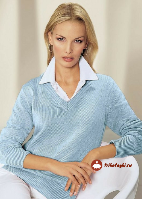 Джемпер женский бирюзовый с рубашкой