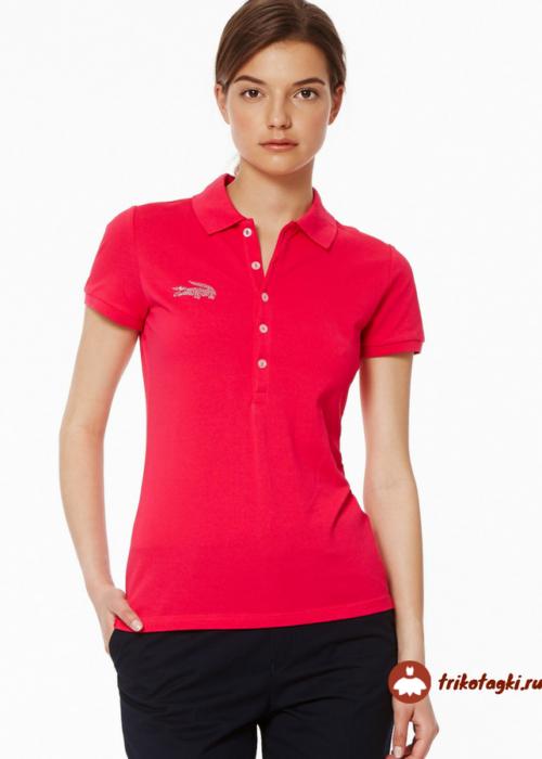 Женская футболка обтягивающая красная