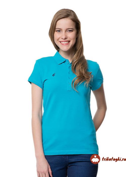 Женская футболка поло голубая свободного кроя