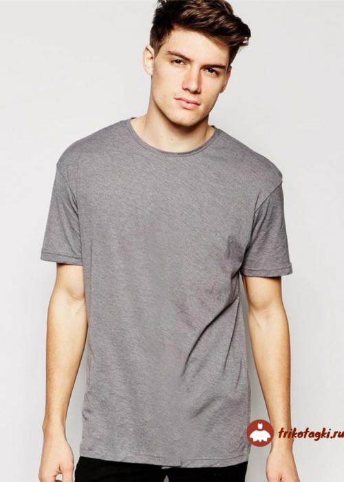 Мужская футболка прямого кроя серая