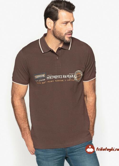Мужская футболка поло классическая коричневая