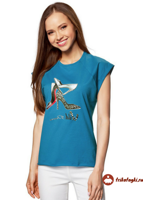 Женская классическая футболка синего цвета