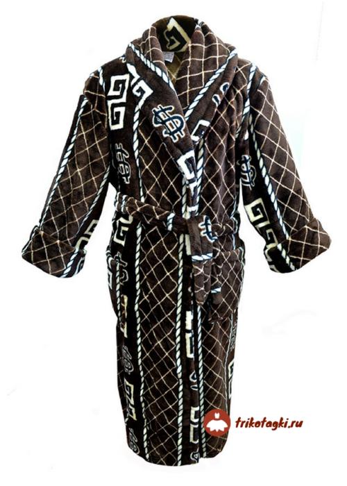 Халат мужской коричневый с рисунком