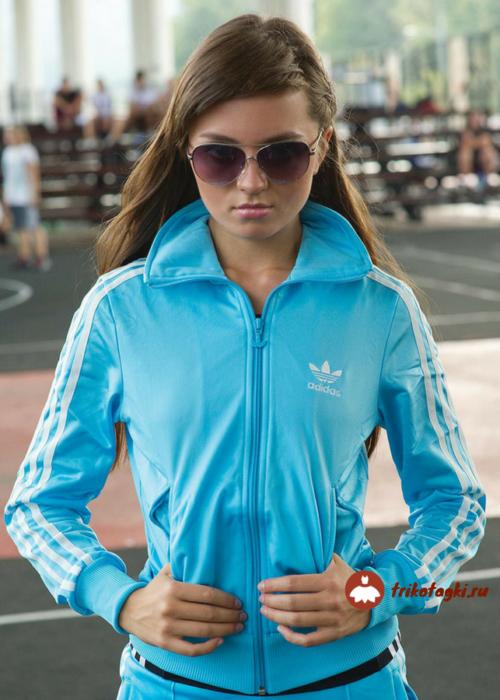 Олимпийка голубая женская адидас