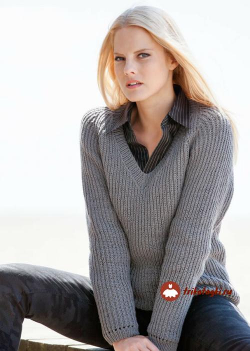 Пуловер женский с батником