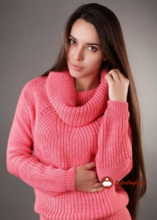 Свитер женский розовый с хамутом