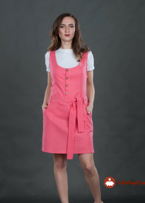 Сарафан молодежный розовый