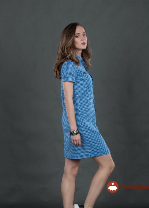 Платье - рубашка голубая