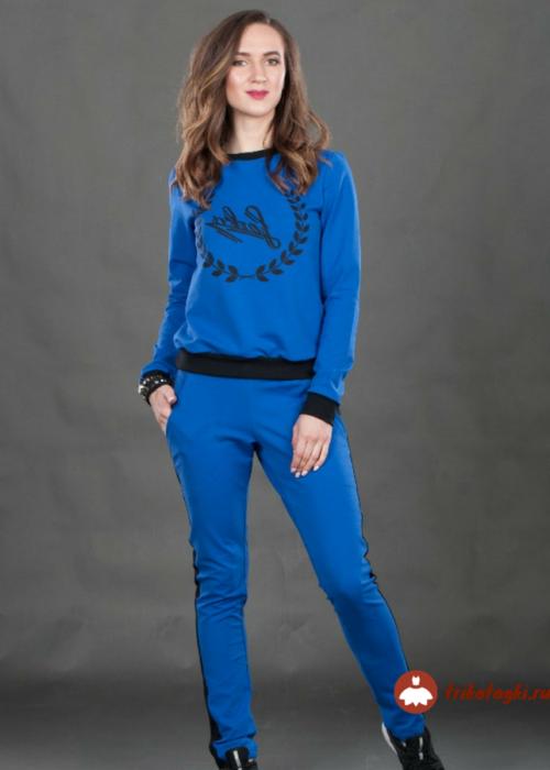 Костюм синий женский с принтом