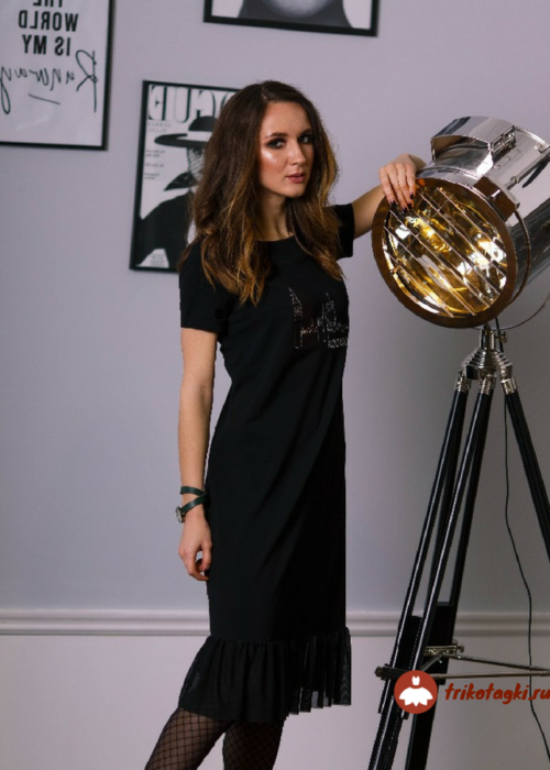 Яерное платье с коротким рукавом