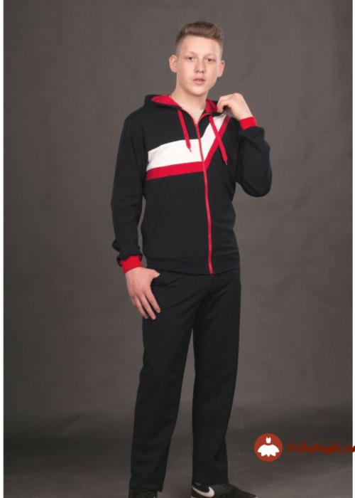 Спортивный мужской костюм с полосками на куртке