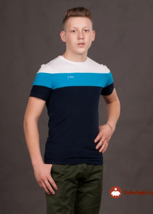 Футболка мужская с голубыми полосками