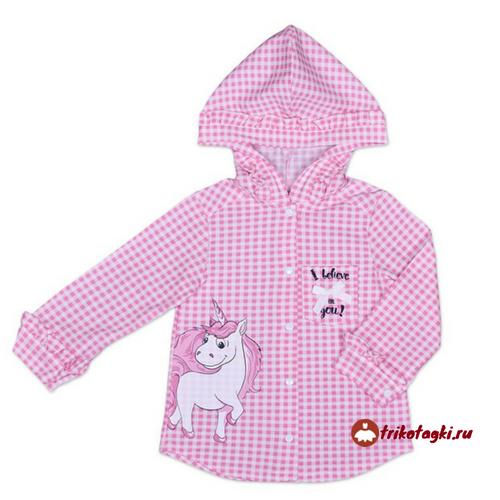 Рубашка для девочки розовая в клетку с капюшоном