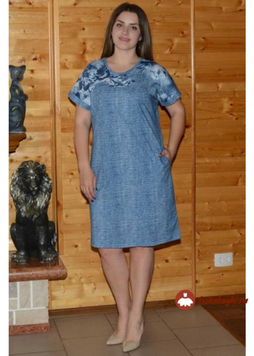 Синее платье до колен на лето