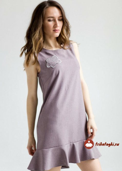 Платье летнее без рукавов сиреневое