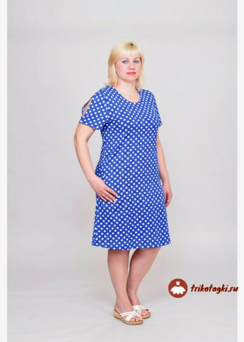Повседневное синее платье в горошек