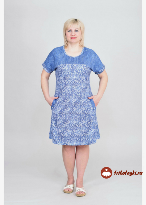 Летнее голубое платье с коротким рукавом