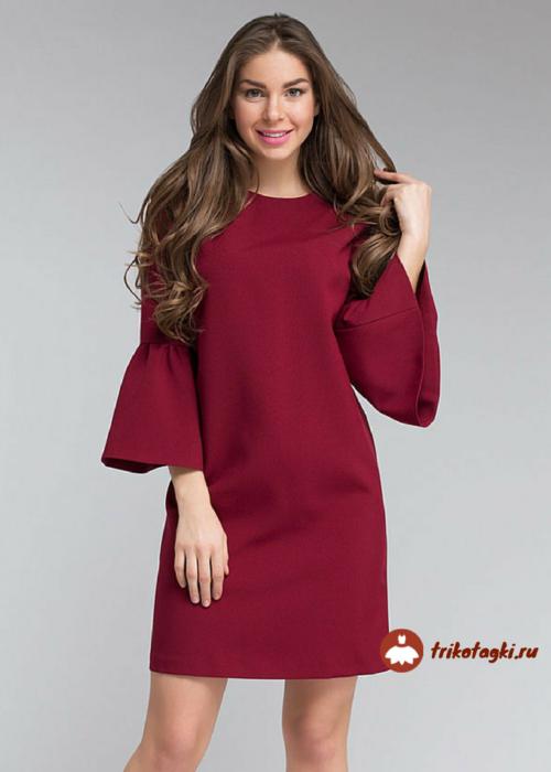 Блузка женская бордо с рукавом колокол