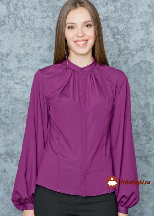 Блузка женская фуксия с епископским рукавом