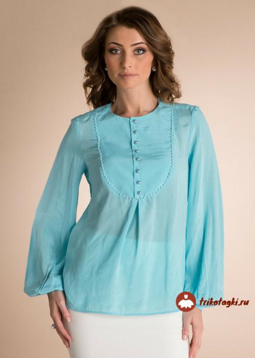 Блузка женская голубая с епископским рукавом