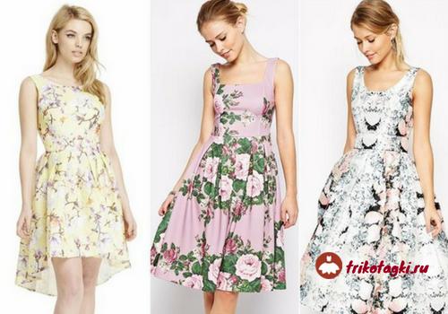 Цветочный принт на летних платьях