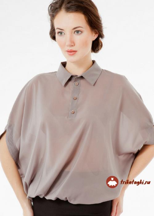 Блузка коричневая женская летучая мышь