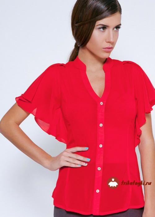 Блузка женская красная с рукавом флаттер