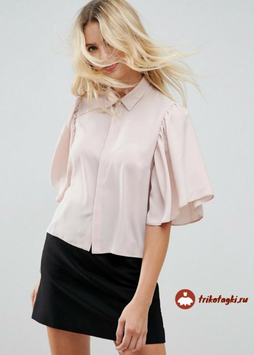 Блузка женская светло - розовая с рукавом флаттер