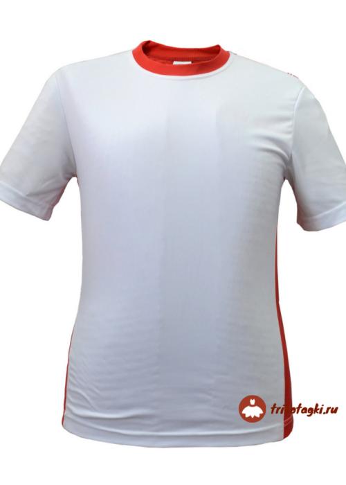 Мужская футболка белая с красной отделкой