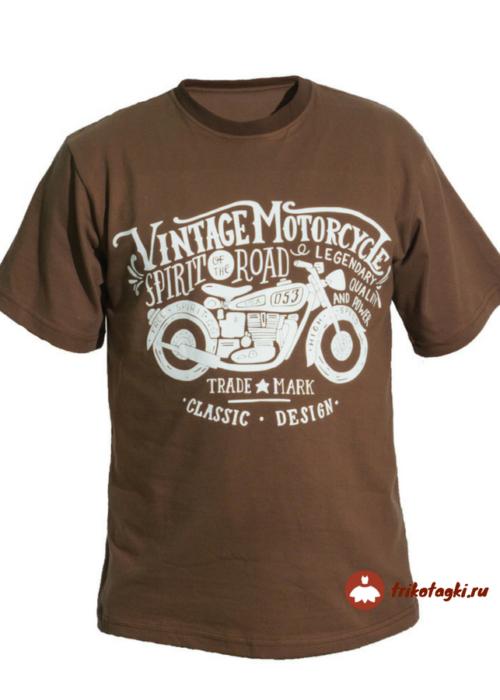Мужская футболка коричневая с принтом