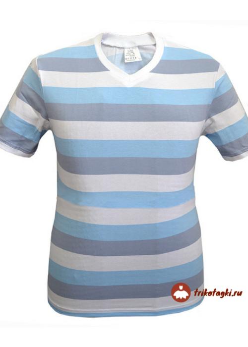 Мужская футболка в голубую с серым полосками