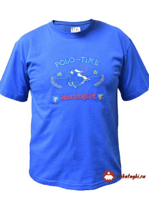 Мужская футболка голубая с принтом