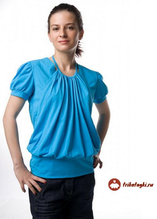 Блузка синяя женская с рукавом фонарик