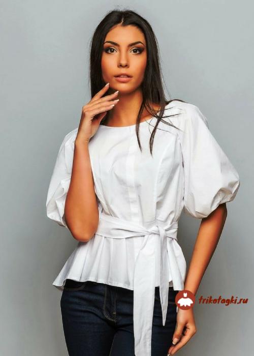 Блузка белая женская с рукавом фонарик