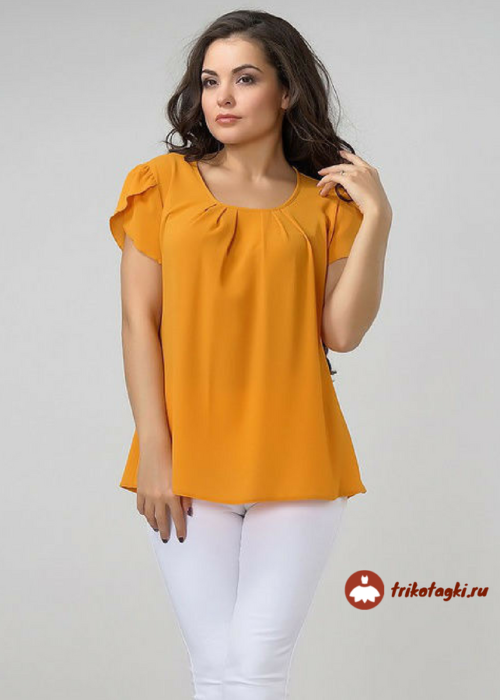 Оранжевая футболка с рукавом лепесток