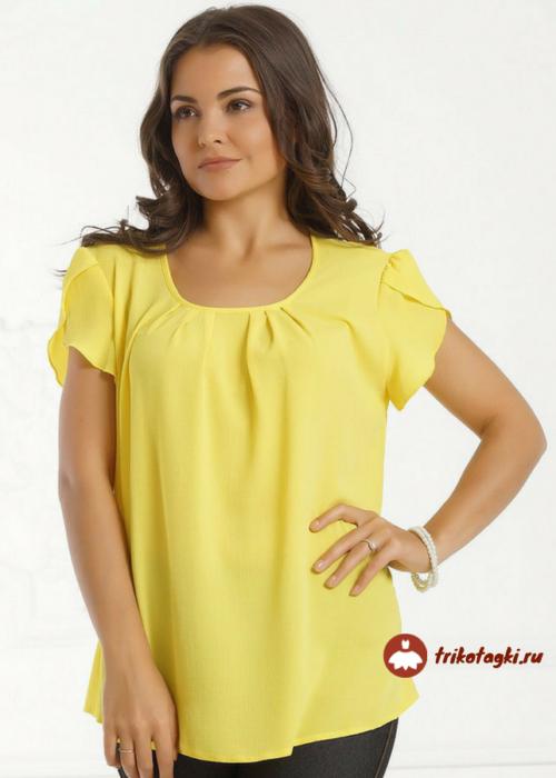 Желтая футболка с рукавом лепесток