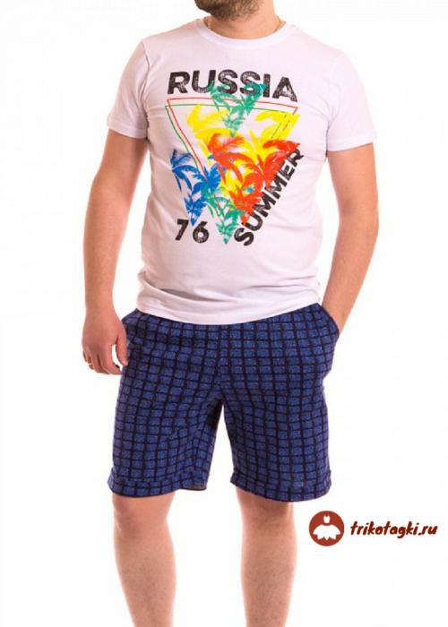 Костюм цветной мужской футболка с шортами