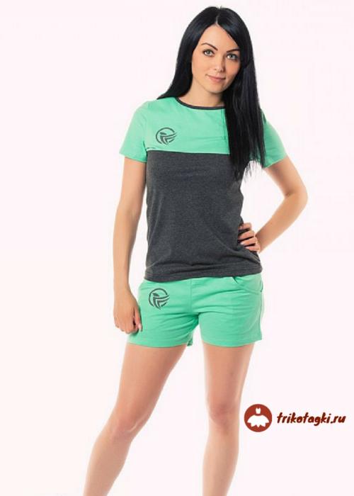 Костюм молодежный зеленый с шортами
