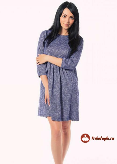 Платье синее с рукавом три четверти